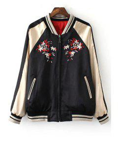 Reversible Embroidered Baseball Jacket - Black S