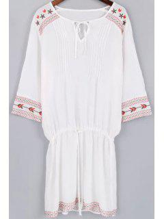 Fitting Embroidery V Neck 3/4 Sleeve Dress And  White Cami Tank Top - White L