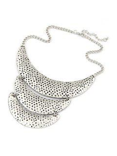 Three Layered Crescent Clavicle Necklace - Silver