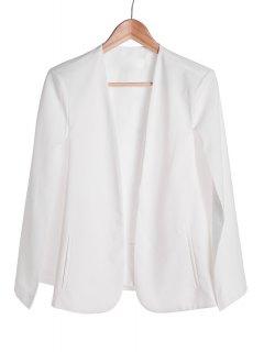 Solid Color Cape-Style Blazer - White L
