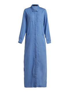 Denim Long Sleeve Maxi Shirt Dress - Blue 2xl
