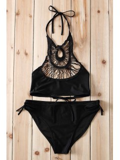 Halter Hollow Out Bikini Set - Black S