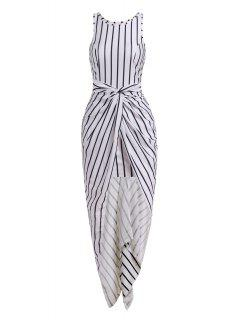 Vertical Stripes Asymmtrical Racerback Maxi Dress - White And Black M