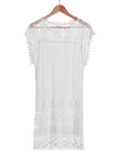 See-Through White Lace Sleeveless Dress - White S