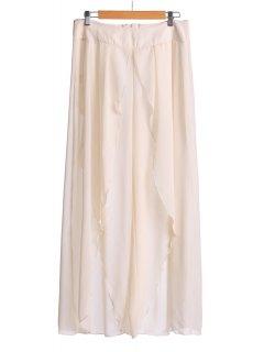 Asymmetrical High Slit Pants - Off-white L