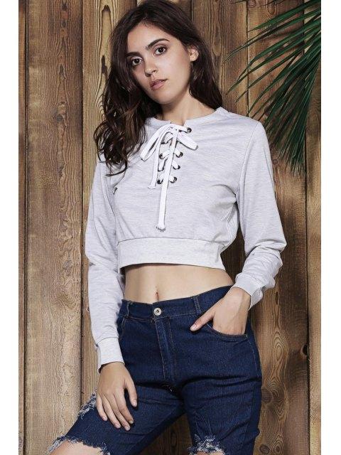 women Gray V Neck Long Sleeve Cropped Sweatshirt - GRAY XL Mobile
