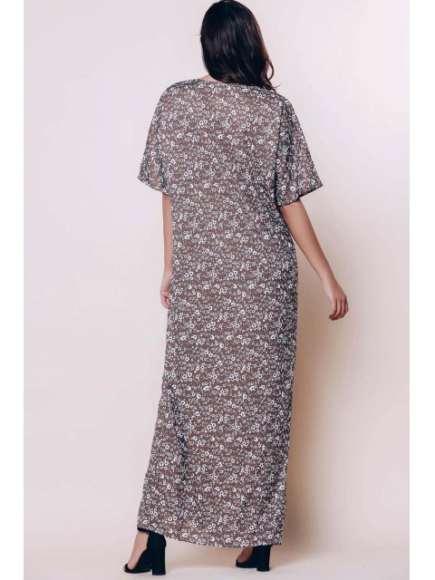 women Tiny Floral Relaxed Fit Maxi Dress - COFFEE XL Mobile