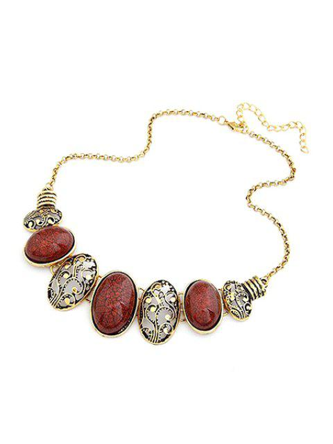 shops Tribal Style Faux Gem Statement Necklace - RED  Mobile