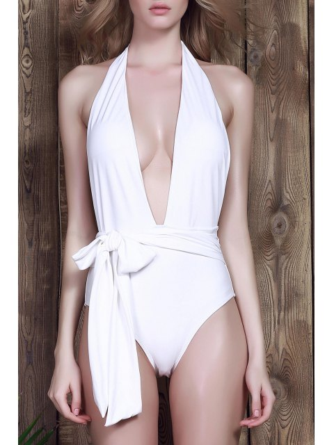 chic Low Cut One-Piece Swimwear - WHITE M Mobile