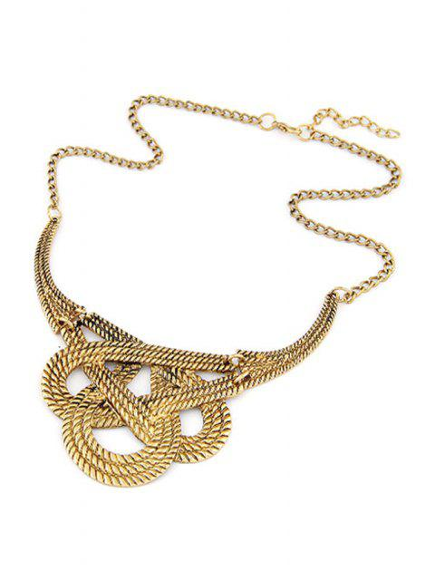 best Hollow Weaving Knotted Clavicle Necklace - GOLDEN  Mobile