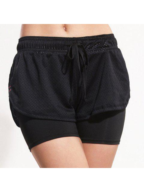 fancy Layered Yoga Sporty Shorts - BLACK M Mobile