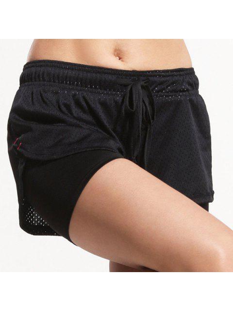 Sporty cordonnet noir Gym short pour les femmes - Noir L Mobile