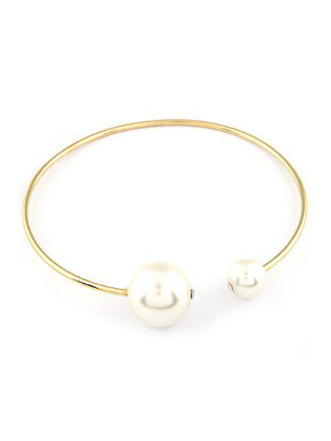 womens Big Faux Pearl Gold Plated Chokers Necklace - GOLDEN  Mobile