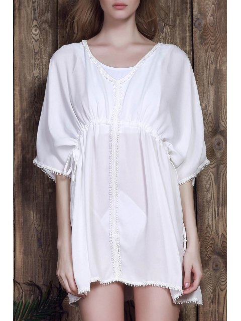 latest Batwing Drawstring Chiffon Cover-Up - WHITE ONE SIZE Mobile