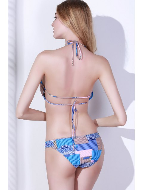 affordable Stripes Halter Print Bikini Set - LIGHT BLUE M Mobile