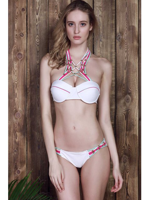 shops Halter Weaved Straps Strappy Bikini Set - WHITE M Mobile