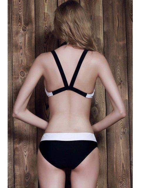 ladies Color Block Two-Piece Swimsuit - WHITE M Mobile