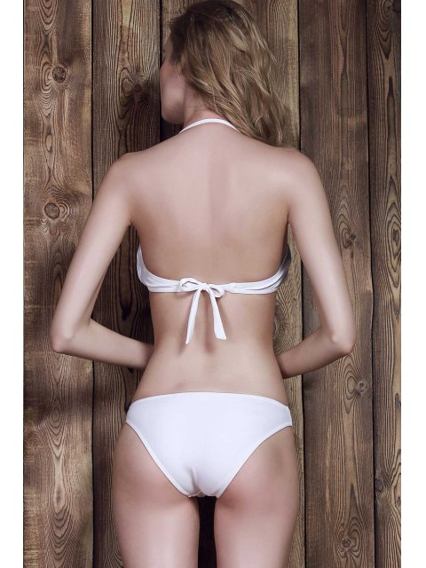 affordable Halter Frilled Two-Tone Bikini Set - WHITE S Mobile