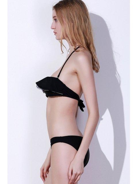 hot Halter Frilled Two-Tone Bikini Set - BLACK S Mobile