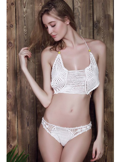 buy White Cami Crocheted Bikini Set - WHITE ONE SIZE(FIT SIZE XS TO M) Mobile