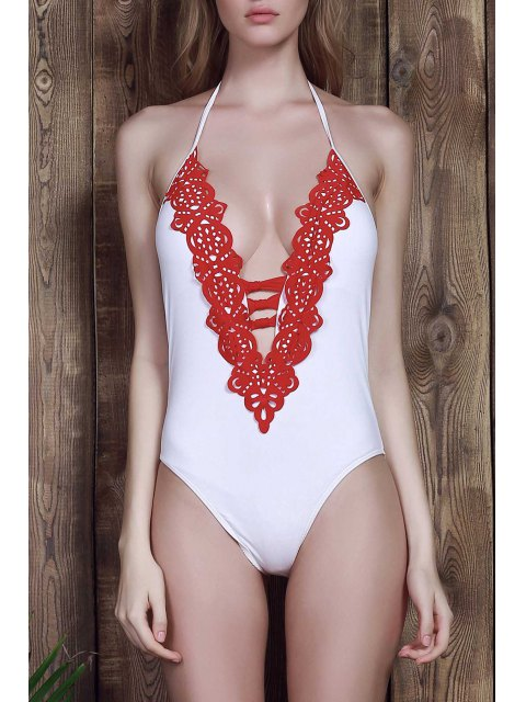 women Halter White One-Piece Swimwear - WHITE M Mobile