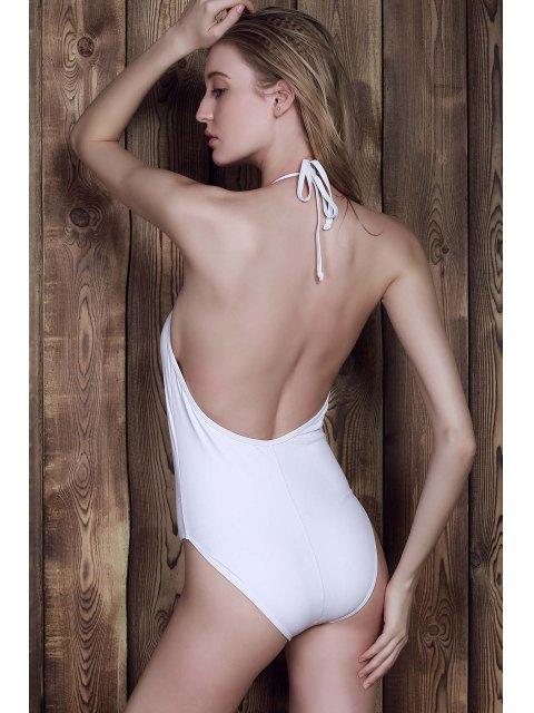 Halter blanc One-Piece Maillots de bain - Blanc S Mobile