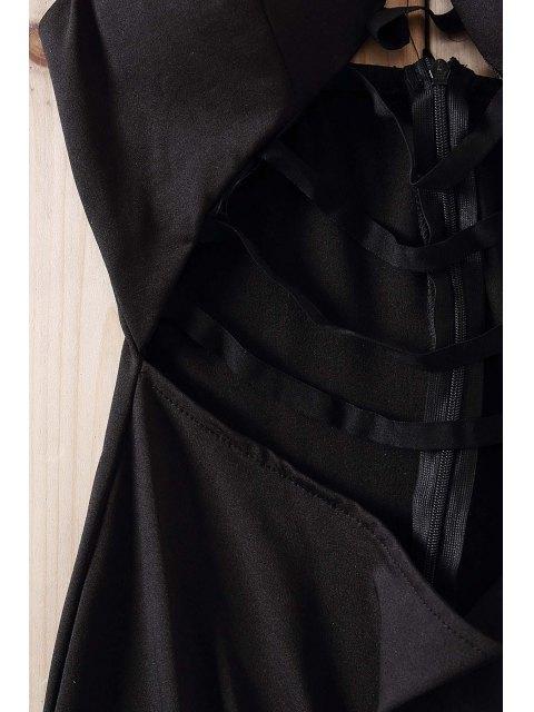 ladies Black Spaghetti Strap Cut Out Bodycon Dress - BLACK L Mobile