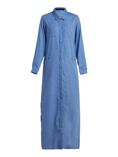 Denim Langarm Maxi Shirt Kleid - Blau L Mobile