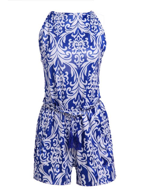 shop Vintage Print Spaghetti Strap Playsuit - BLUE AND WHITE S Mobile