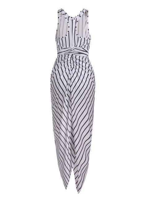 fancy Vertical Stripes  Asymmetrical Racerback Maxi Dress - WHITE AND BLACK M Mobile