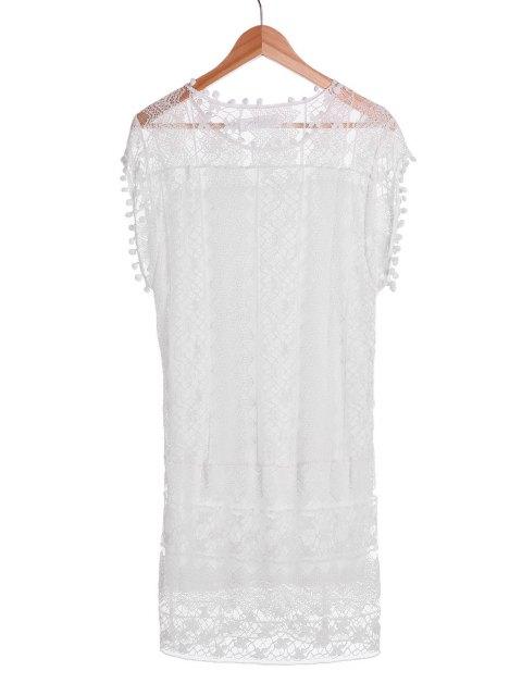 new See-Through White Lace Sleeveless Dress - WHITE XL Mobile