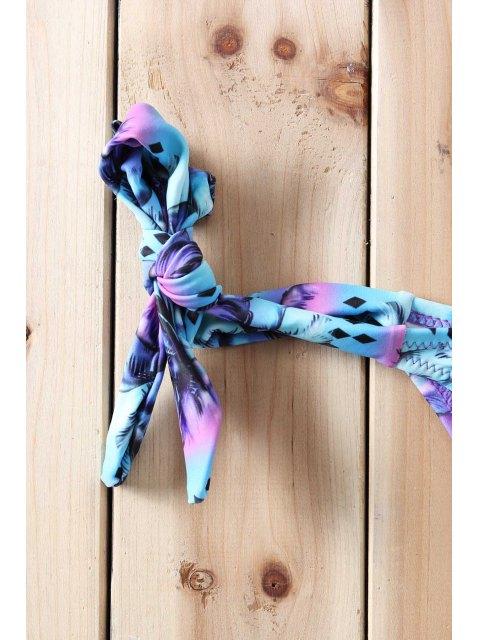 new Purple Bra Tree Print Briefs Bikini Set - PURPLE M Mobile