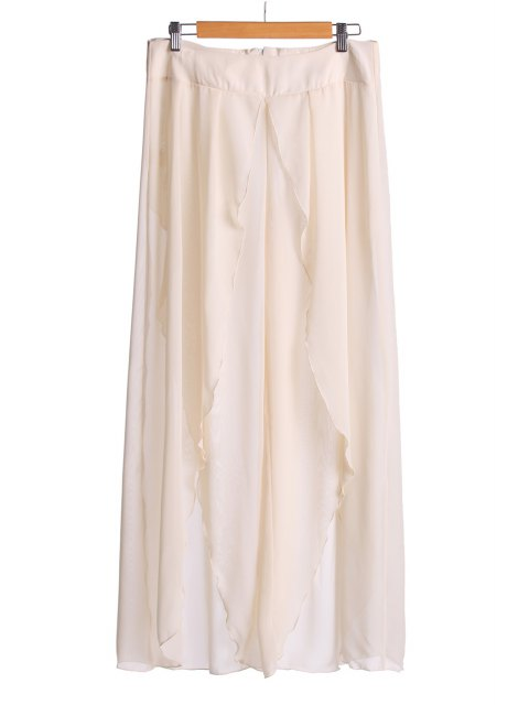 chic Asymmetrical High Slit Pants - OFF-WHITE 2XL Mobile