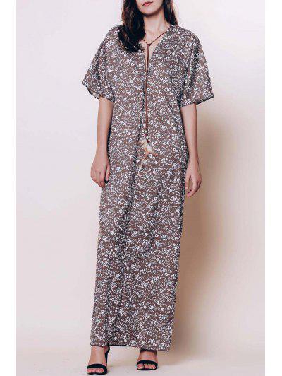 صغيرة الزهور الاسترخاء تناسب فستان ماكسي - قهوة Xl