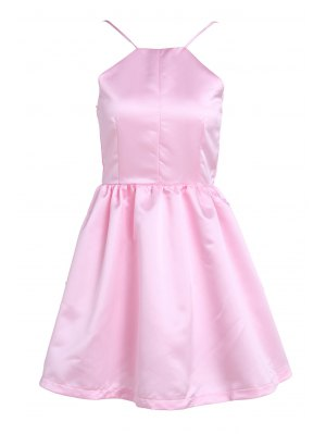 Pink Spaghetti Strap Open Back Flare Dress