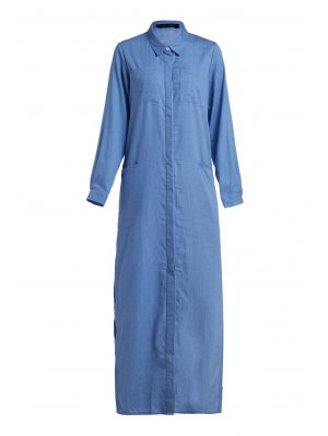 Denim Long Sleeve Maxi Shirt Dress