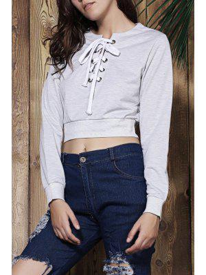 Gray V Neck Long Sleeve Cropped Sweatshirt