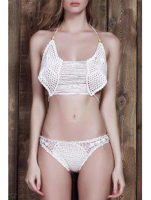 Blanc Cami Crochet Bikini - Blanc