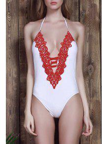 Halter White One-Piece Swimwear - White S
