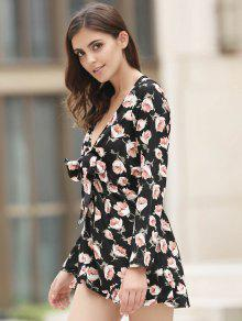 1a85ce2e79c 59% OFF  2019 Plunging Neck Floral Flowy Playsuit In BLACK AND PINK ...