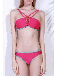Spaghetti Strap Contrasting Piped Bikini Set - Rose Madder L
