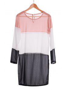 Splicing Color Block Long Sleeve Dress - Black S