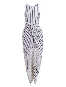 Vertical Stripes Asymmtrical Racerback Maxi Dress - White And Black L