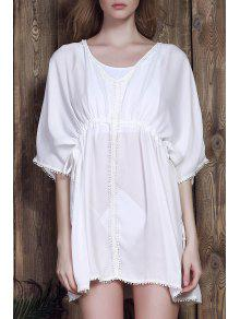 Buy Batwing Drawstring Chiffon Cover-Up - WHITE ONE SIZE