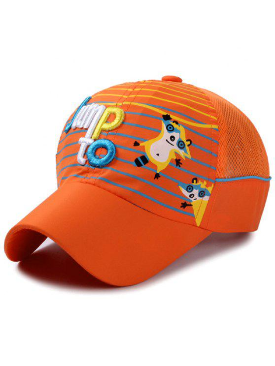 أنيق إلكتروني التطريز الشريط و كاتون الراكون نمط قبعة بيسبول للأطفال - البرتقالي