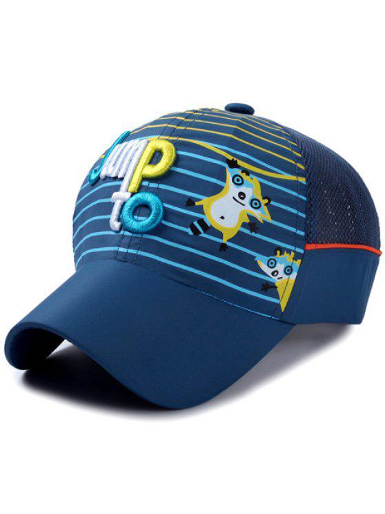 أنيق إلكتروني التطريز الشريط و كاتون الراكون نمط قبعة بيسبول للأطفال - ازرق غامق