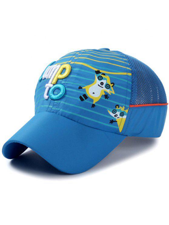 أنيق إلكتروني التطريز الشريط و كاتون الراكون نمط قبعة بيسبول للأطفال - أزرق