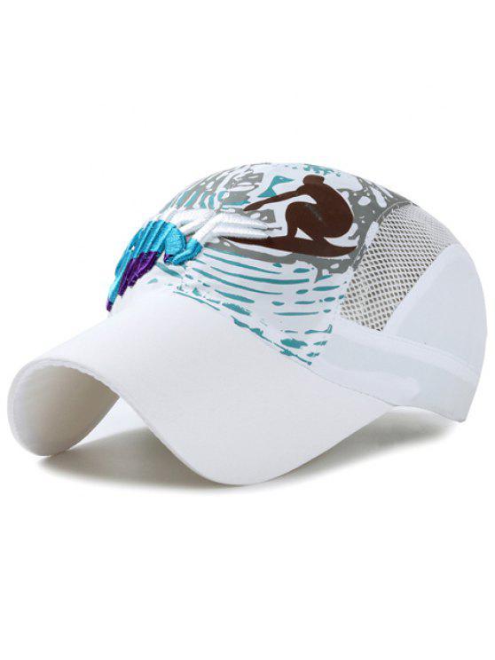 رسالة أنيقة التطريز الناس تصفح نمط قبعة بيسبول للأطفال - أبيض