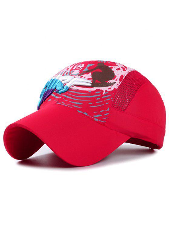 رسالة أنيقة التطريز الناس تصفح نمط قبعة بيسبول للأطفال - أحمر