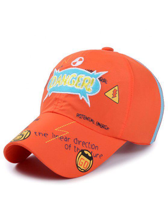 رسالة أنيقة التطريز نمط الزحف قبعة بيسبول للأطفال - البرتقالي